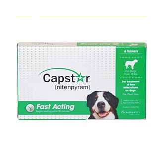 Capstar Oral Flea tablets Dogs over 25lbs, 6 tablets/card , Green Box