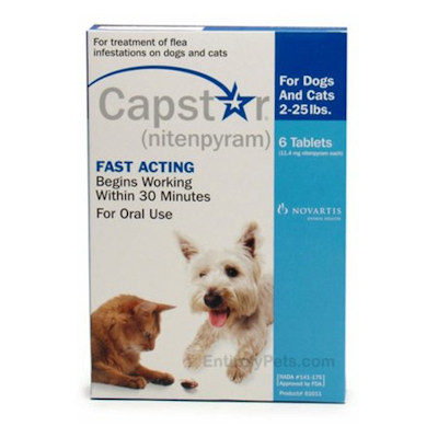 Capstar Oral Flea Tablets ,2-25lb Dogs or Cats, 6 tablets/box Blue