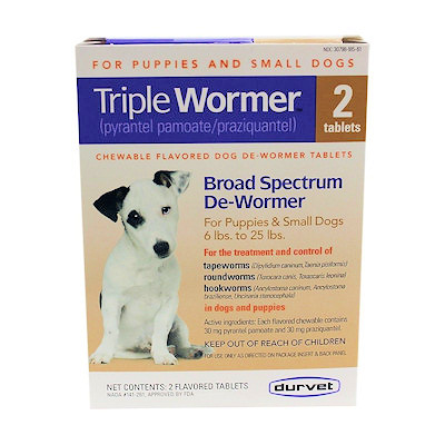 Triple Wormer Chewable tablets for puppies and dogs 6-25lbs - Order 2 packets and get 1 Free